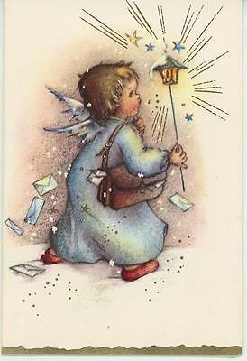 VINTAGE ANGEL LANTERN MAIL LETTER CARRIER STARS CHRISTMAS BLANK CARD ART PRINT ()