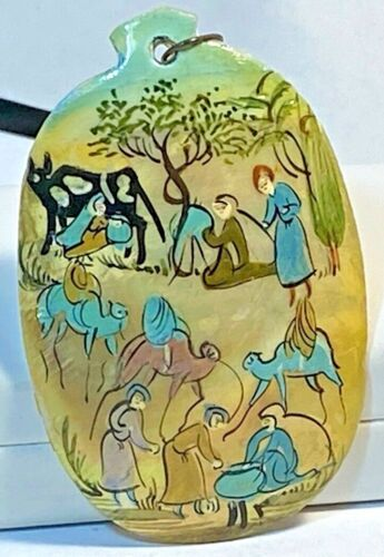 Persian Mother of Pearl MOP Hand Painted Camels Ox & People Pendant