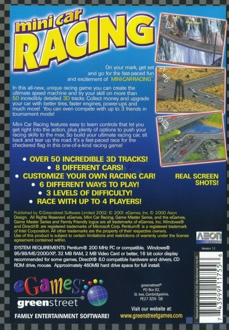 Details about eGames Mini Car Racing - 3D - 50 Tracks Multi-Player - PC  CD-ROM (New & Sealed)