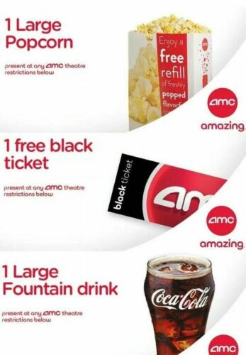 Movie night! 1 AMC Movie Theater Black Ticket, 1 Large Popcorn, 1 Large Drink