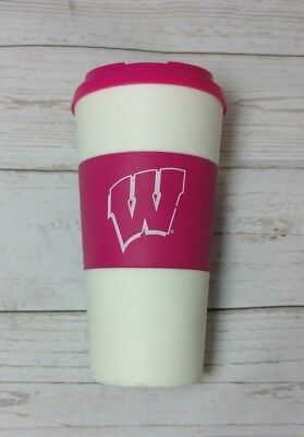 Wisconsin Badgers Sleeved Travel Tumbler Cup 16 Ounces Pink white coffee -