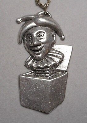 Large Vintage Jack in the Box Jester Motif Pewter Pendant on 24