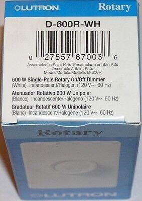 Lutron D-600r-wh 600 Watt Single Pole Rotary Dimmer Wall Light Switch - White