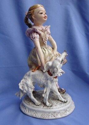 """1950s BORZOI & girl Mollica Italy dog 10"""""""
