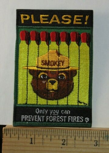 """Smokey The Bear, """"Only you can prevent""""  Embroidered Iron-on Patch 3.5x2.75"""""""
