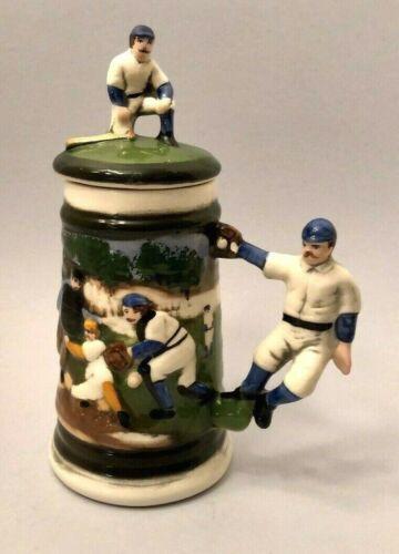 Vintage Brilliant Ceramic Baseball Stein with Lid / Japan 1987