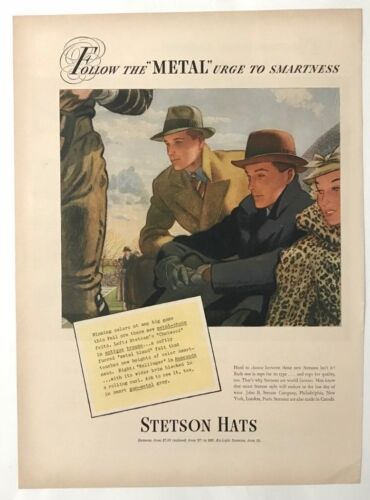 Vintage Original 1937 STETSON HATS Print Ad Advertisement