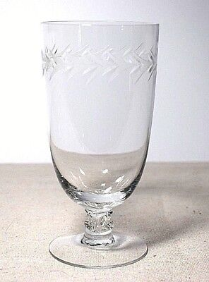 "Fostoria Holly Clear Iced Tea Glass  6"" Tall Etched Laurel Look Design"