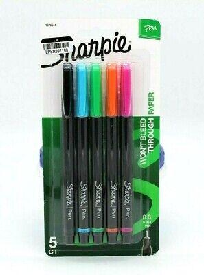 Sharpie Pen Fine Point Assorted Colors 5-count 0.8mm Wont Bleed Through Paper
