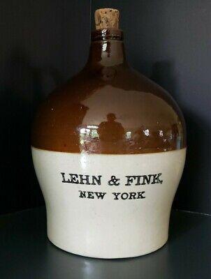 "Vintage Advertising Stoneware Jug ""LEHN & FINK, NEW YORK"" 1Gallon, NICE!!!"