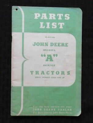 1946 John Deere Model A An Anh Aw Awh Tractor Parts Catalog Manual 552000 Up