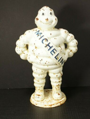 "Vintage 15"" Cast Iron Michelin Man Bibendum Detroit Reg. 1918 Advertising Statue"
