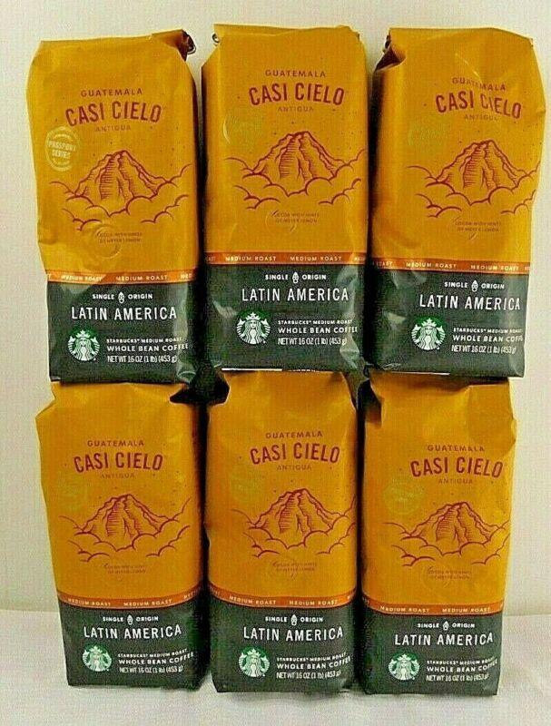 Starbucks Guatemala Casi Cielo Antigua Whole Bean Coffee 6 1-lb Bags BB 02/2020