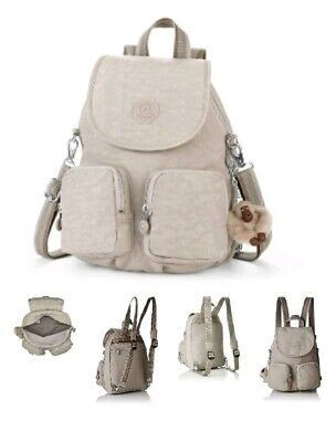 Kipling Women's Firefly Up Backpack - Pastel Beige Small Cream with Monkey