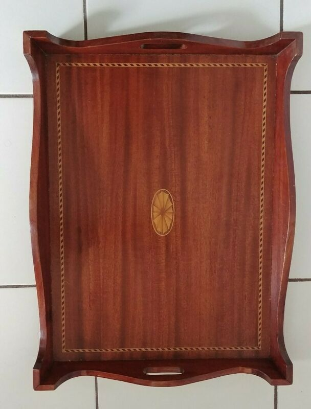 """Vintage Wooden Serving Tray Inlaid Wood with Handles Made in Italy 22""""×16""""×2.5"""""""