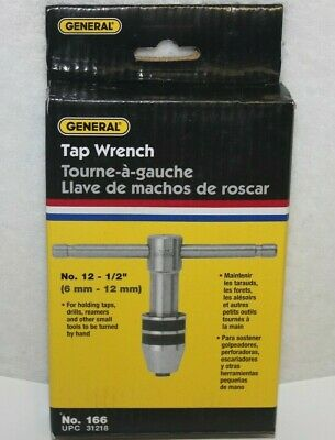 General No. 166 Sliding T-handle Tap Wrench Driver No.12 - 12 Made In Usa