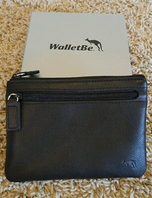 WalletBe black leather zippered coin/credit card pouch Black Leather Zipper