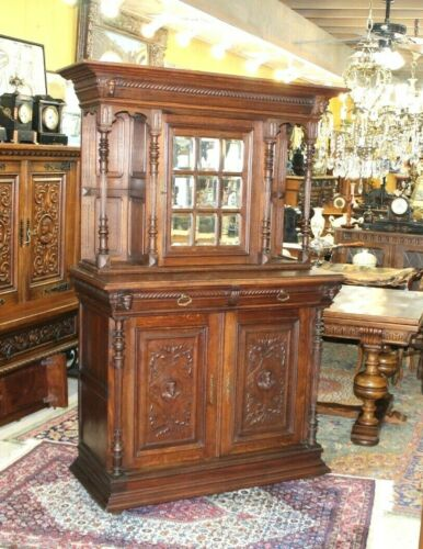 French Antique Oak Renaissance Buffet / Hutch