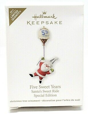 RARE NEW 2011 HALLMARK FIVE SWEET YEARS LIMITED CHRISTMAS ORNAMENT SCARCE CUTE