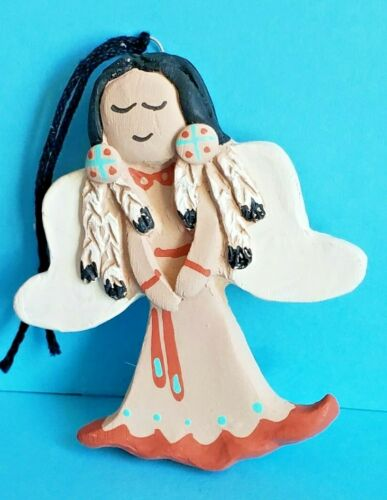 """A VTG TEISSEDRE CLAY INDIAN MAIDEN ANGEL CHRISTMAS ORNAMENT - 3¼"""" TALL SIGNED"""