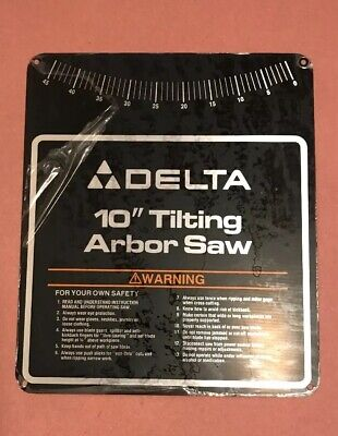 Delta Tilting Arbor 10 Table Saw Nameplate For 36-750