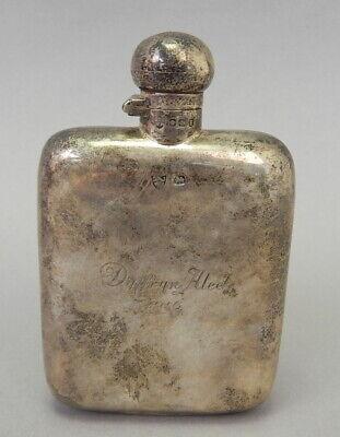 Antique English Sterling Silver Liquor Pocket Hip Flask Bottle Dated 1916 105g