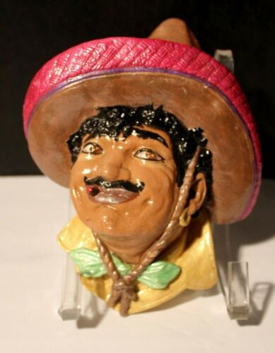 VINTAGE CHALKWARE HEAD WALL PLAQUE MEXICAN MAN