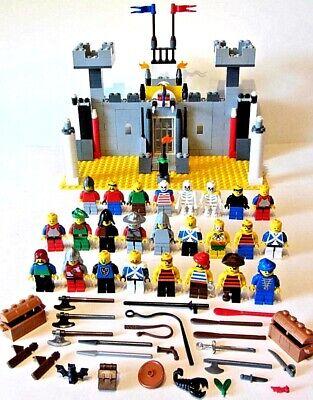 HUGE LEGO CASTLE KNIGHT PIRATE SET LOT 25 MINI FIGURES ACCESSORIES SWORDS AXES &