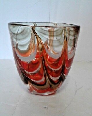 VTG Dale Tiffany Cachpot Brown Multi-Color Vase Hand Blown Glass Vintage ()