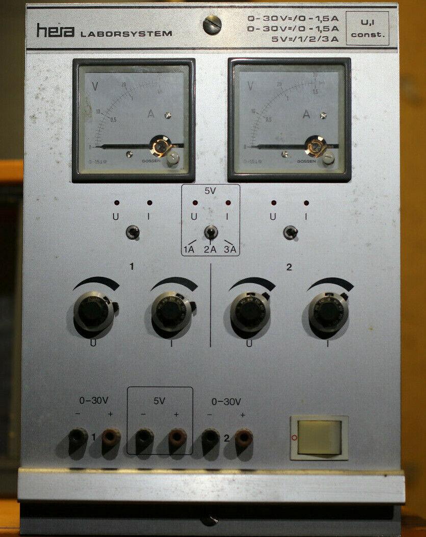 Hera Laborsystem Elabo 2x 0-30V DC / 0-1,5A und 1x 5V DV 1/2/3A