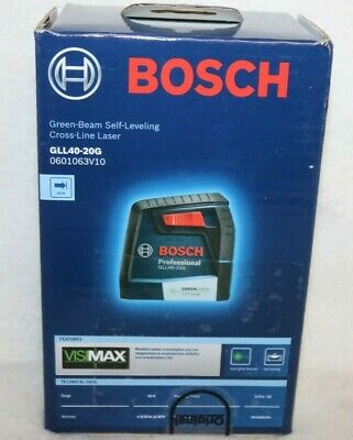 New Bosch Gll40-20g 40 Ft. Self Leveling Cross Line Laser W Visimax Green Beam