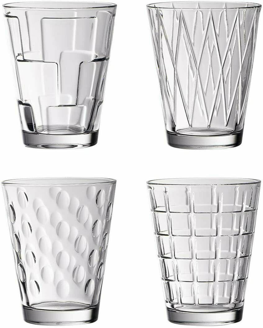 Water Glasses Pack of 4 - Juice Drinking Tumbler - V&B Dressed Up