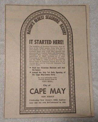 1964 Nation's Oldest Seaside Resort - Cape May New Jersey Advertisement