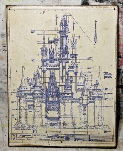 CINDERELLA CASTLE BLUEPRINT Handmade Disney World vintage sign
