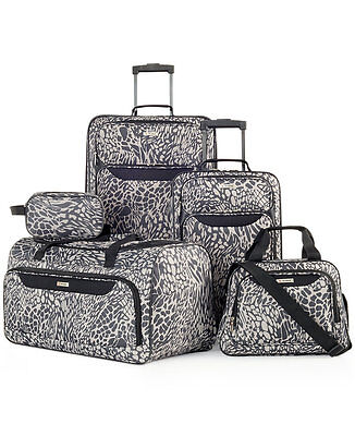 $200 New TAG Travel Collection Springfield III Print  5 PC Luggage Suitcase GREY