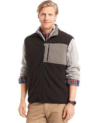 Mens Fleece Vest Van Heusen IZOD XL 2XL XXL Big & Tall Mixed Media Pocket $55Tag Tall Mens Fleece