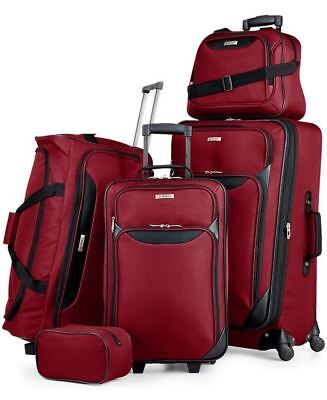 200 New Tag Travel Collection Springfield Iii 5 Piece Suitcase Luggage Set Red