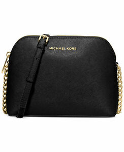 4ada1b98a5d6 Michael Kors Cindy Large Dome Black Saffiano Leather Crossbody Bag  32h4gcpc7l