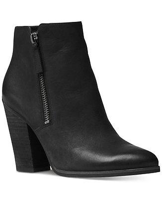 NIB MICHAEL Michael Kors Denver Leather Zippered Booties Black Size 11 $199 NEW