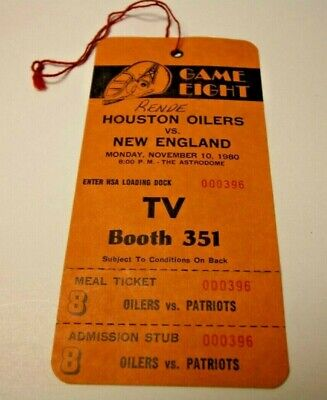 1980 NFL FOOTBALL PRESS PASS VERY RARE NEW ENGLAND PATRIOTS VS HOUSTON OILERS