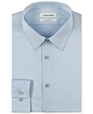 $115 CALVIN KLEIN Men BLUE SLIM-FIT NON-IRON LONG SLEEVE DRESS SHIRT 16 32/33
