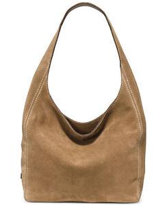98beaf829f60 Michael Kors Lena Large Shoulder Bag Hobo Suede Leather Desert for ...