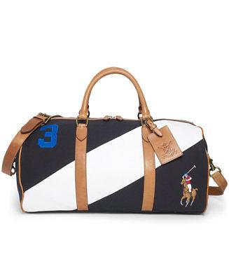 Polo Ralph Lauren Canvas Leather Detail Duffel Bag  Black White Navy Orange $440 Orange Black Leather
