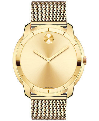 New Movado Bold Gold Dial Gold Tone Mesh Stainless Steel Men's Watch 3600373
