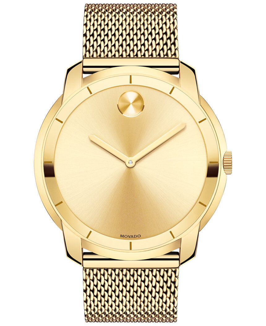 $447.99 - New Movado Bold Gold Dial Gold Tone Mesh Stainless Steel Men's Watch 3600373