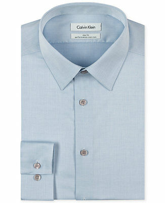 $98 CALVIN KLEIN Men SLIM-FIT BLUE LONG-SLEEVE NON-IRON DRESS SHIRT 15.5 32/33 M