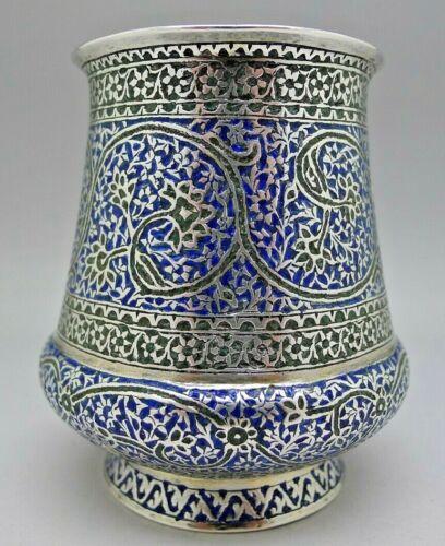 PERSIAN ENAMEL SOLID COIN SILVER CUP TUMBLER HEAVY ANTIQUE c.1899 RARE EXAMPLE