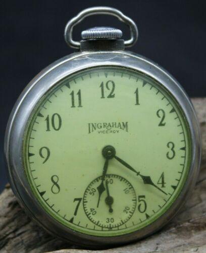 Vintage Made in USA Ingraham Viceroy Dollar Pocket Watch 50.2mm RUNNING (J2P)