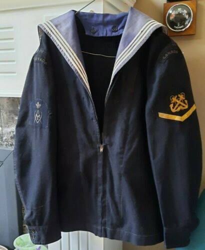 WWII Korea era Canadian Navy RCN Uniform Jumper with Lanyard Bullion Badges