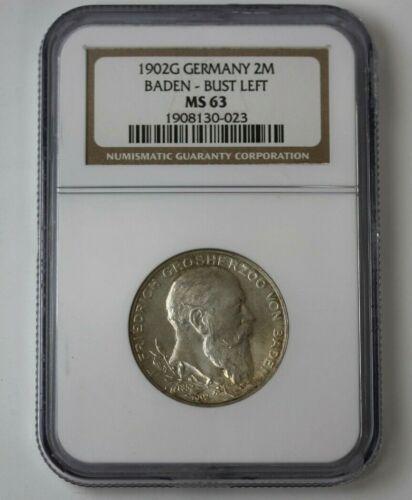 1902G Germany Silver 2 Mark Baden Bust-Left NGC MS 63 #69260JR
